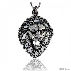Sterling Silver Lion Head Pendant, 1 5/8 in tall