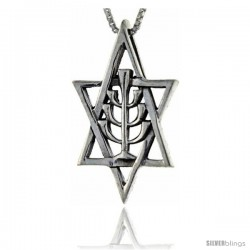 Sterling Silver Star of David with Menorah Pendant, 1 1/2 in tall