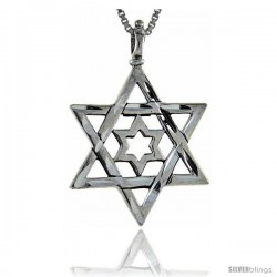 Sterling Silver Star of David Pendant, 1 1/4 in tall