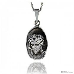 Sterling Silver Jesus Head Pendant, 1 3/8 in tall