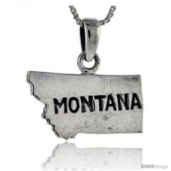 Sterling Silver Montana State Map Pendant, 3/4 in tall