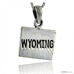 Sterling Silver Wyoming State Map Pendant, 1 in tall