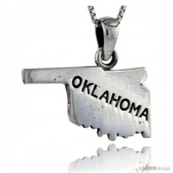 Sterling Silver Oklahoma State Map Pendant, 1 in tall