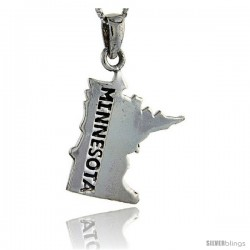 Sterling Silver Minnesota State Map Pendant, 1 1/4 in tall