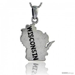 Sterling Silver Wisconsin State Map Pendant, 1 1/4 in tall