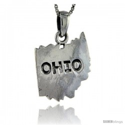 Sterling Silver Ohio State Map Pendant, 1 1/16 in tall