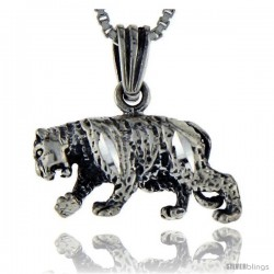 Sterling Silver Tiger Pendant, 3/4 in tall -Style Pa115