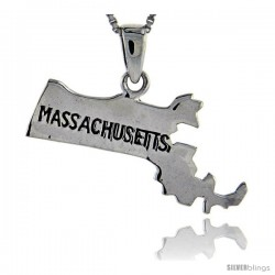 Sterling Silver Massachusetts State Map Pendant, 1 in tall