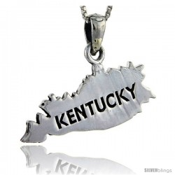 Sterling Silver Kentucky State Map Pendant, 1 in tall