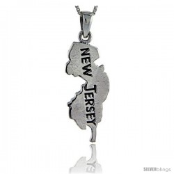 Sterling Silver New Jersey State Map Pendant, 1 3/4 in tall