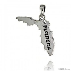 Sterling Silver Florida State Map Pendant, 1 1/8 in tall