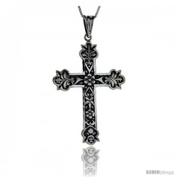Sterling Silver Cross Pendant with Floral Decoration, 2.0 in long