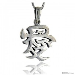 Sterling Silver Chinese Character for LOVE Pendant, 1 1/16 in tall