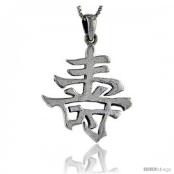 Sterling Silver Chinese Character for LONG LIFE Pendant, 1 1/2 in tall