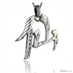 Sterling Silver Chinese Character for IMMORTAL/ANGEL Pendant, 1 1/4 in tall