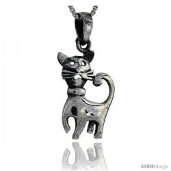 Sterling Silver Cat Pendant, 1 1/8 in tall -Style Pa127