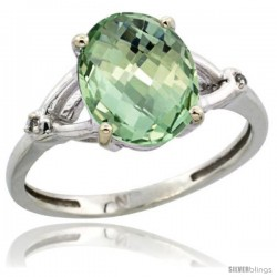 Sterling Silver Diamond Natural Green Amethyst Ring Ring 2.4 ct Oval Stone 10x8 mm, 3/8 in wide