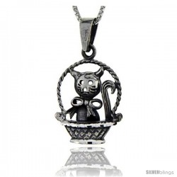 Sterling Silver Cat on a Basket Pendant, 1 3/8 in tall