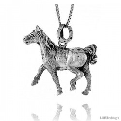 Sterling Silver Solid 3-Dimensional Horse Pendant with great Quality and Detail, 1 1/4 in wide