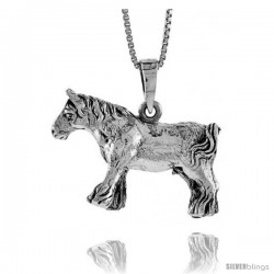Sterling Silver Solid 3-Dimensional Horse Pendant with great Quality and Detail, 3/4 in