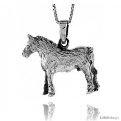 Sterling Silver Solid 3-Dimensional Horse Pendant with great Quality and Detail, 7/8 in -Style Pa1315