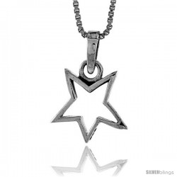 Sterling Silver Cut-Out Star Pendant, 1/2 in