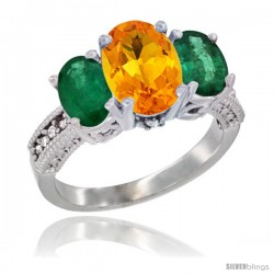 10K White Gold Ladies Natural Citrine Oval 3 Stone Ring with Emerald Sides Diamond Accent
