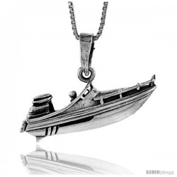 Sterling Silver Speed Boat Pendant, 1 1/4 in