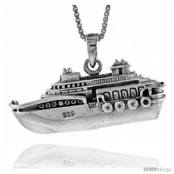 Sterling Silver Cruise Ship Pendant, 1 in