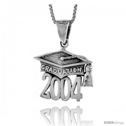 Sterling Silver 2004 Graduation Hat ( Mortarboard ) Pendant, 3/4 in