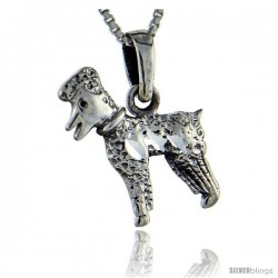 Sterling Silver Dog Pendant, 1 in tall