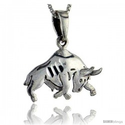Sterling Silver Bull Pendant, 1 in tall