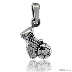 Sterling Silver Soccer Ball & Shoe Pendant, 5/8 in tall
