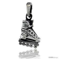 Sterling Silver Roller Blade Shoe Pendant, 3/4 in tall