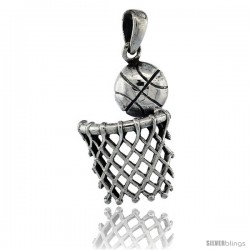 Sterling Silver Basketball & basket Pendant, 1 1/8 in tall