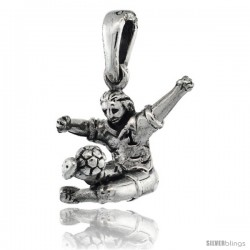 Sterling Silver Soccer Player Pendant, 1/2 in tall