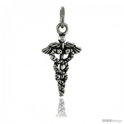 Sterling Silver Caduceus (Medical Symbol) Pendant, 7/8 in tall