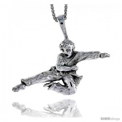 Sterling Silver Martial Artist Pendant, 3/4 in tall