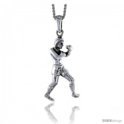 Sterling Silver Boxer Pendant, 1 in tall -Style Pa1409