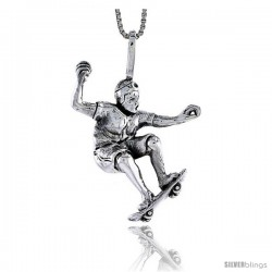 Sterling Silver Skateboarder Pendant, 1 1/4 in tall