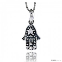 Sterling Silver Hamsa ( Chamsa ) Pendant, 5/8 in tall