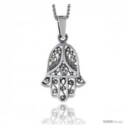Sterling Silver Filigree Hamsa ( Chamsa ) Pendant, 3/4 in tall