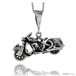 Sterling Silver Motorcycle Pendant, 1 1/8 in wide