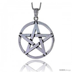 Sterling Silver Star Pentagon Pendant, 1 1/4 in tall