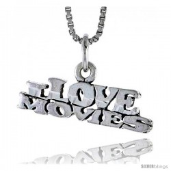 Sterling Silver I Love Movies Talking Pendant, 7/8 in wide