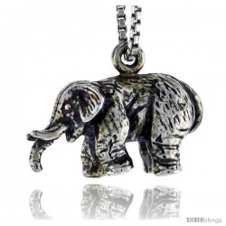 Sterling Silver Elephant Pendant, 3/4 in wide