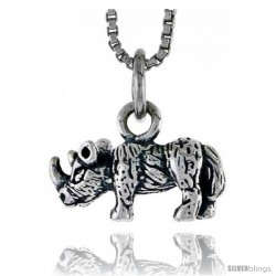 Sterling Silver Rhinoceros Pendant, 5/8 in wide