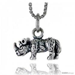 Sterling Silver Rhinoceros Pendant, 5/8 in wide