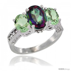 14K White Gold Ladies 3-Stone Oval Natural Mystic Topaz Ring with Green Amethyst Sides Diamond Accent
