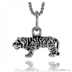 Sterling Silver Tiger Pendant, 1/2 in wide